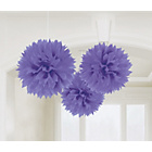 more details on Paper Decorative Pack of 3 Pom Pom Decorations - Purple.