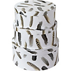 more details on Arthouse Feathers Round Storage Box Set of 3 - Neutral.