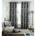 more details on Catherine Lansfield Toile Damask Curtains-168x137cm-Charcoal