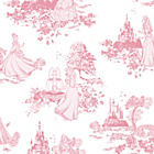 more details on Disney Princess Toile Wallpaper - Pink.