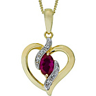 more details on 9ct Gold Plated Silver CZ and Created Ruby Heart Pendant.