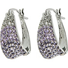 more details on Sterling Silver Graduated Purple Crystal Creole Earrings.