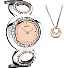 more details on Seksy Ladies' Rose Gold Bracelet Watch and Pendant Set.
