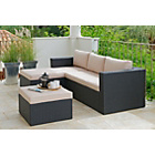 more details on Rattan Effect 3 Seater Mini Corner Sofa - Black.