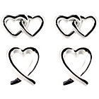 more details on Sterling Silver Double Heart Romance Stud Earrings -Set of 2