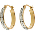 more details on 9ct Gold Plated Silver Diamond Set Oval Creole Earrings.