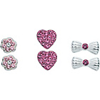more details on Sterling Silver Crystal Stud Earrings - Set of 3.
