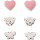 more details on Me to You Petite Silver Plated Stud Earrings - Set of 3.