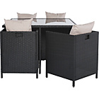more details on Rattan Effect 4 Seater Cube Patio Set - Black.