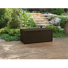 more details on Keter Peyton Wood Effect Plastic Garden Storage Bench-Brown.