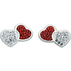more details on Sterling Silver Red and White CZ Heart Stud Earrings.