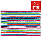 more details on Colour Match Striped Bath Mat - Multicoloured.
