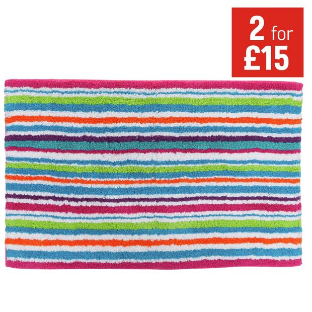 buy colourmatch bath mat stripes at your. Black Bedroom Furniture Sets. Home Design Ideas