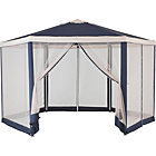 more details on Hexagonal 4m Garden Gazebo with Mesh Panels - Blue & Cream.