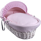 more details on Clair de Lune Cotton Candy White Wicker Moses Basket - Pink.