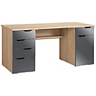 more details on Middleton Office Workstation with 6 drawers - Oak with Grey