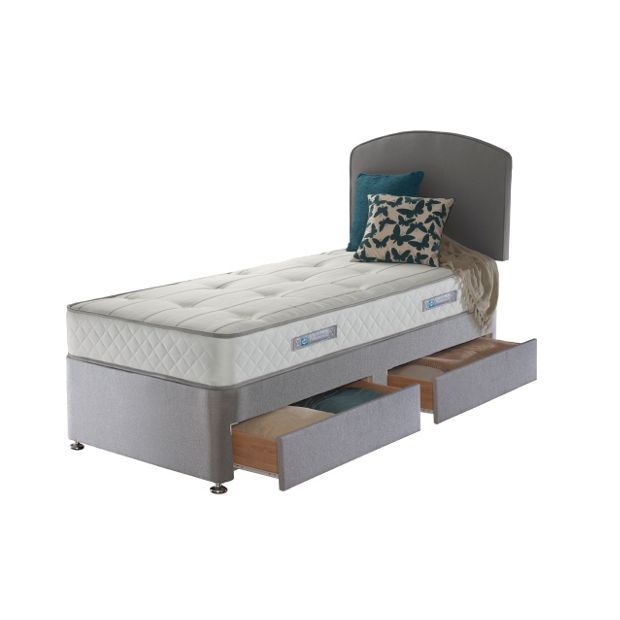 Buy sealy posturepedic firm ortho single 2 drw divan bed for Firm divan beds
