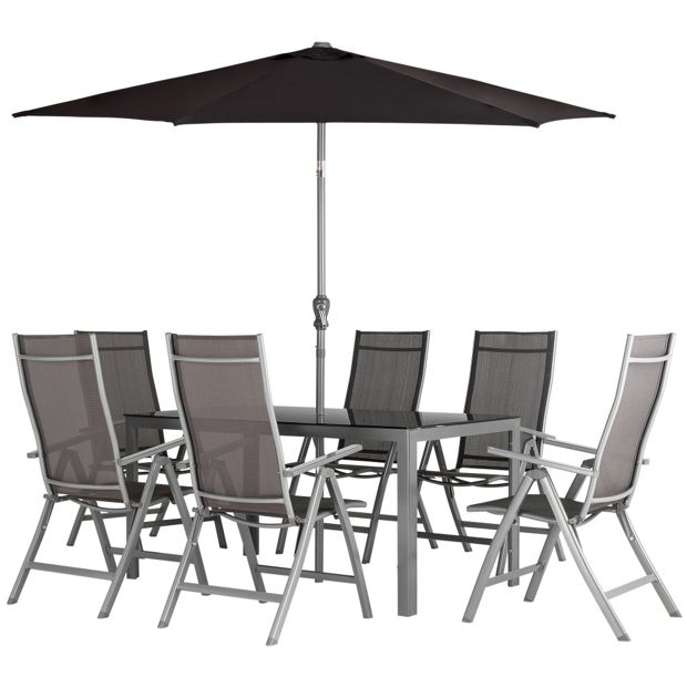 Buy Malibu 6 Seater Steel Patio Set Black At Your Online Shop For Garden Table