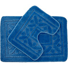 more details on Greek Key Bath and Pedestal Mat Set - Blue.
