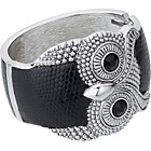 more details on Rhodium Plated Black Leather Owl Bangle.