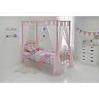 more details on Hearts Pink Single Four Poster Bed with Bibby Mattress.