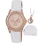 more details on Girl's Tikkers White Strap Rose Dial Watch Set.