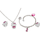 more details on Hello Kitty Pink Hearts Pendant Ring and Earrings Set.