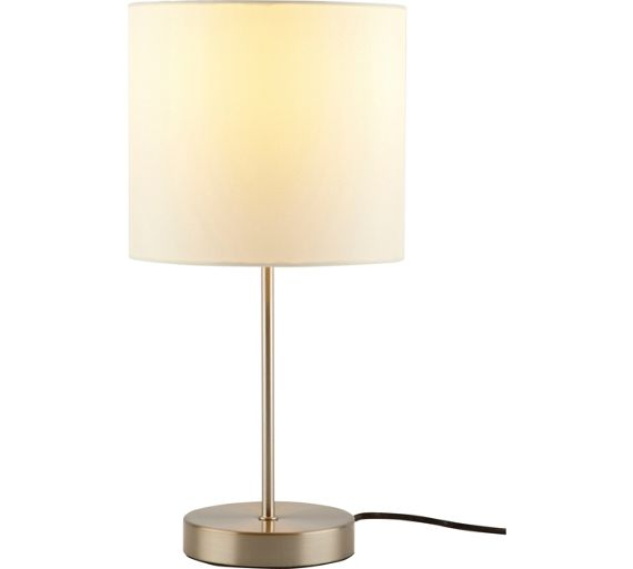 Buy colourmatch satin stick table lamp cotton cream at for Table lamps argos