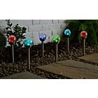 more details on Clear Crackle Glass Colour Changing Solar Lights - Set of 6.