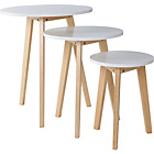 more details on Hygena Round Nest of 3 Tables - White.