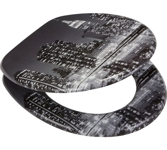 Buy HOME New York Skyline Toilet Seat Black And Grey At Your