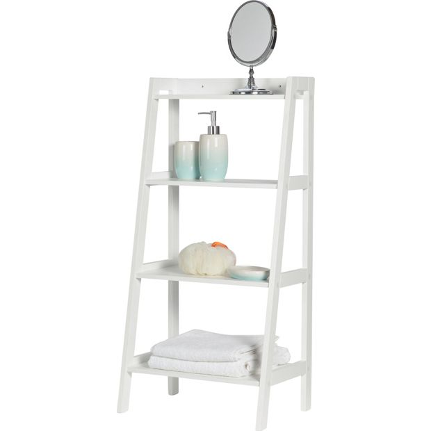 Buy collection ladder storage unit at your for Bathroom ladder shelf