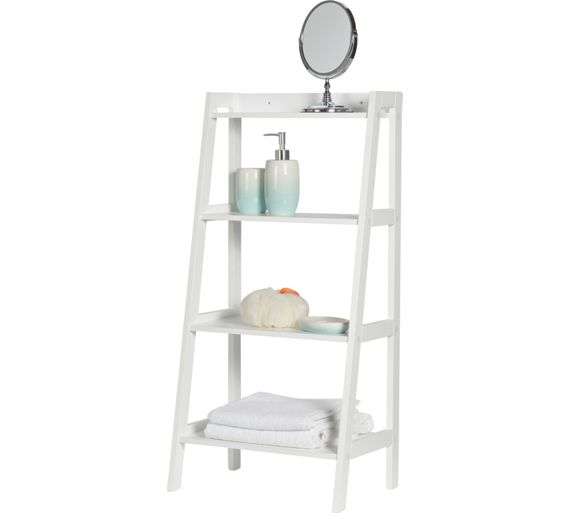 SHELVES WHITE MDF LADDER SHELF DISPLAY FREE STANDING FOLDING ...