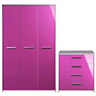 more details on Sywell 2 Piece 3 Door Wardrobe Package - Pink.