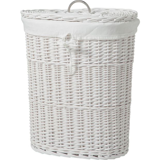 buy heart of house willow linen bin white at. Black Bedroom Furniture Sets. Home Design Ideas