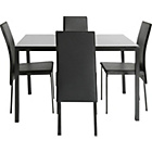 more details on Garcia Glass Dining Table and 4 Black Chairs.