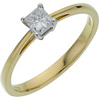 more details on 18ct Gold 0.25ct Diamond Princess Cut Ring - Size J.