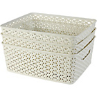 more details on HOME Set of 3 Rattan My Style Storage Boxes - Vintage White.