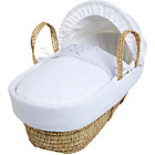 more details on Clair de Lune Stardust White Wicker Moses Basket - White.