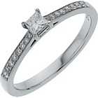 more details on 18ct White Gold 0.25ct Diamond Princess Cut Shoulder Ring.