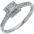 more details on 18ct White Gold Square Diamond Halo Ring - Size J.