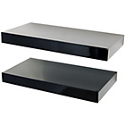 more details on Pair of 40cm Floating Shelves - Black Gloss.