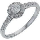 more details on 18ct White Gold Round Diamond Halo Ring - Size S.