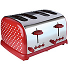 Kitchen Originals Red Dotty 4 Slice Stainless Steel Toaster