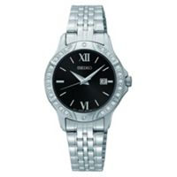 Seiko Black Dial Stainless Steel Womens Bracelet Watch (Silver)