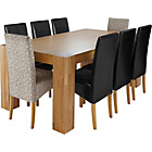 more details on Heart of House Alston Oak Table & 6 Black & 2 Floral Chairs.
