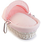 more details on Clair de Lune Waffle White Wicker Moses Basket - Pink.