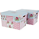 more details on Twin Pack Floral Patchwork Storage Boxes - Pink.