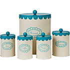 more details on Vintage Cream 5 Piece Round Storage Jars - Aqua.