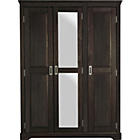 more details on Mendoza 3 Door Mirrored Wardrobe - Pine with Walnut Stain